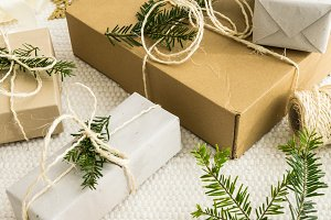Christmas gifts with fir twigs II