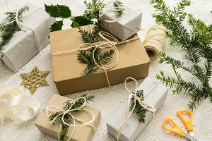 Christmas gifts with fir twigs III