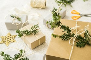 Christmas gifts with fir twigs IV