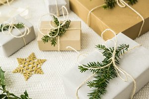 Christmas gifts with fir twigs V