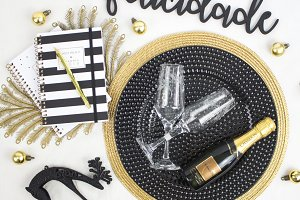 Golden and white New Year flat lay