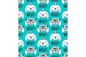 Cute seamless pattern with hand drawn cartoon characters of dog