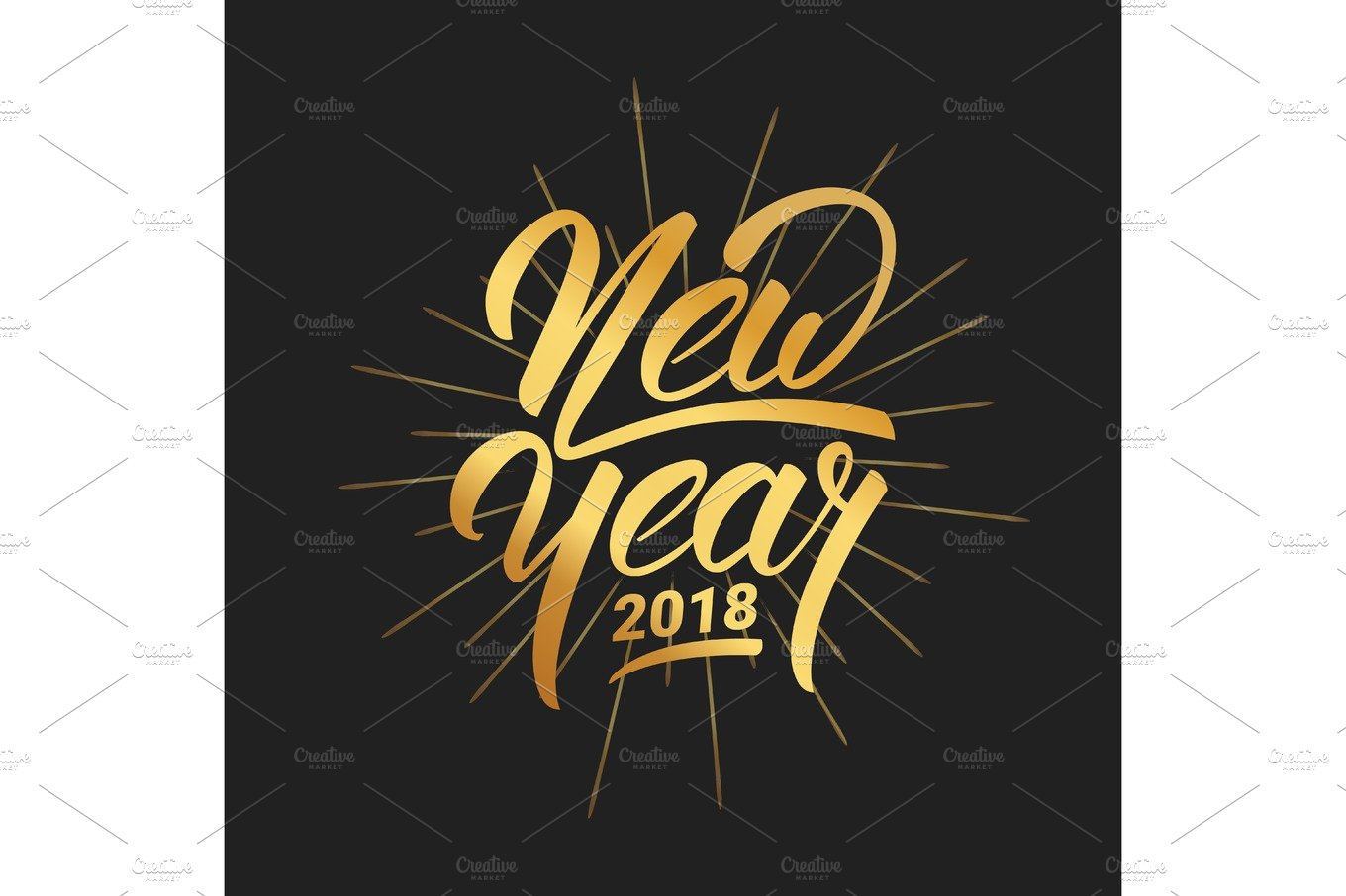 new year happy new year 2018 hand lettering with gold shiny texture
