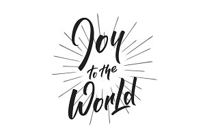 Christmas. Joy to the World text lettering design. Holiday typography logo design