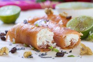 Rolls of smoked salmon
