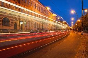 Blurred light trails of Prague tram. Prague, Czech republic