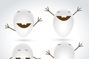 Happy Eggs Characters Vector