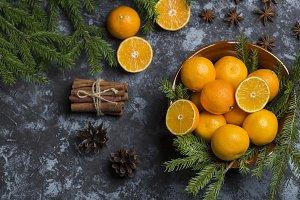 Fresh tangerine clementine on background wooden