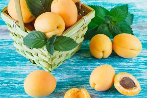 Ripe orange apricots in the basket with leaves of mint