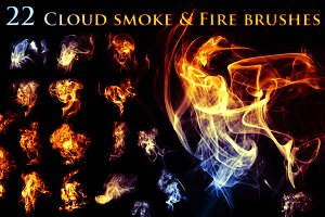 22 Cloudy Smoke & Fire Brushes
