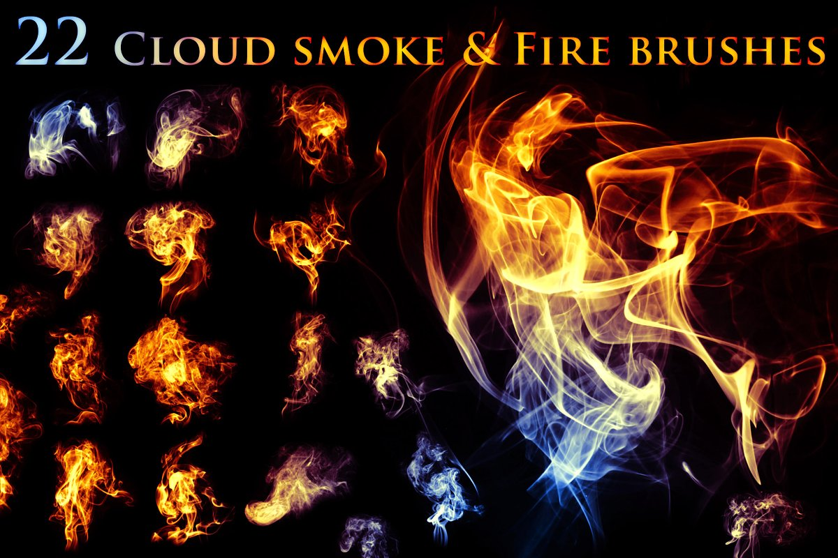 78fef23af3ba 22 Cloudy Smoke & Fire Brushes ~ Photoshop Add-Ons ~ Creative Market
