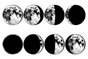Moon phases 8 steps / Astronomy set