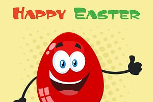 Red Easter Egg Showing Thumbs Up