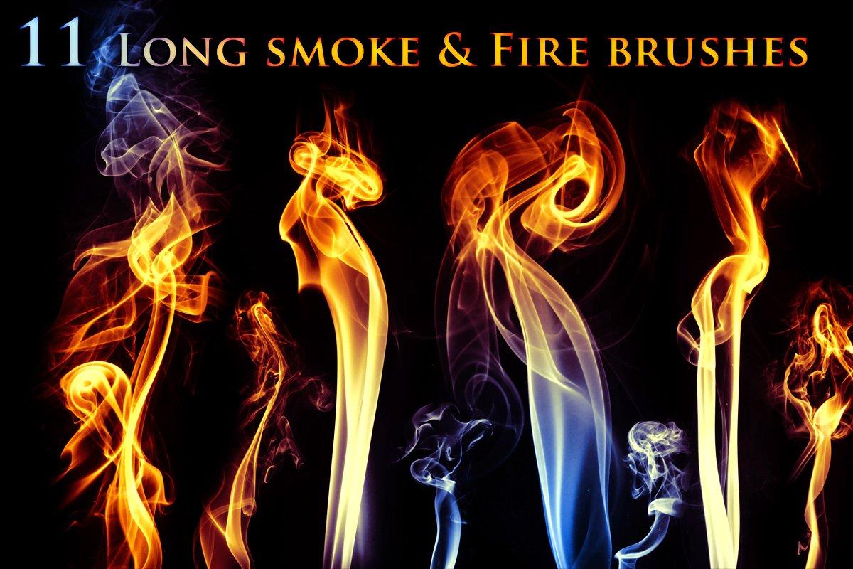 1f75ff95254c 11 Long Smoke & Fire Brushes ~ Photoshop Add-Ons ~ Creative Market