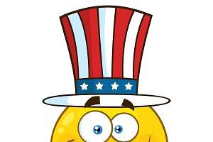 Patriotic Yellow Cartoon Emoji Face