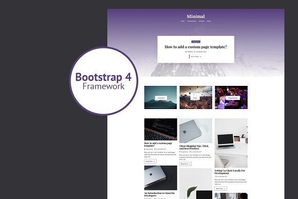 Minimal Bootstrap 4 Ghost Theme