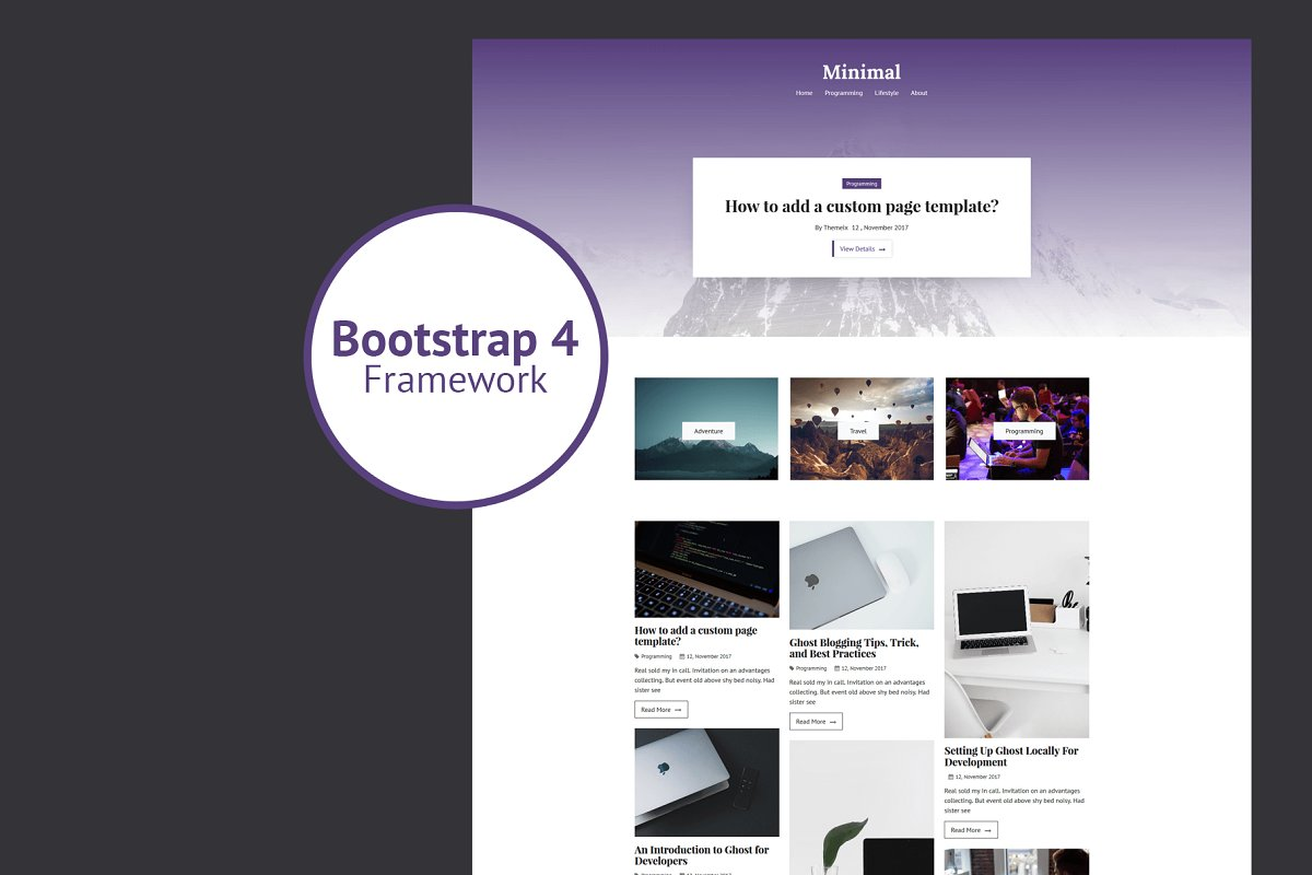 Minimal - Bootstrap 4 Ghost Theme
