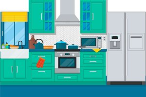 Modern kitchen interior with furniture and cooking devices. Flat vector illustration