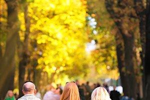 Walking people in park
