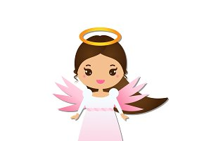 Cute Christmas angel icon, sticker