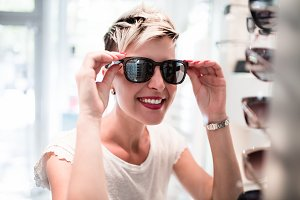 Woman in optical store