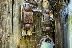 Door with old rusty lock