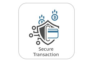 Bitcoin Secure Transaction Icon.