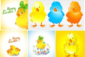 Easter Chicken Birds Vectors