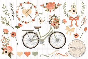 Peach Floral Wedding Bicycle Vectors