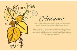 Autumn Poster with Yellow and Orange Leaves, Decor