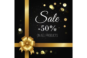 Winter Sale Poster -50% Off on All Products Vector