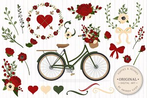 Floral Christmas Wedding Bicycle