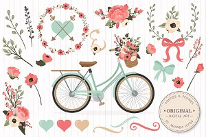 Mint & Coral Floral Bicycle + Extras