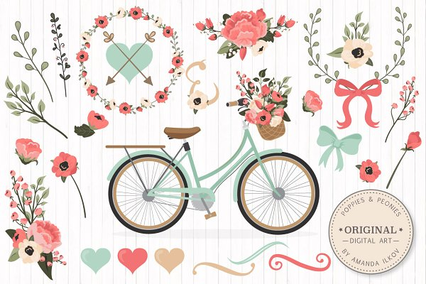 Mint & Coral Floral Bicycle + Extra…