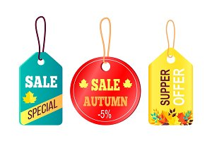 Sales Promotion in Fall Concept, Tags Hanging Text