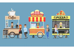 Coffee, Popcorn and Pizza Booths Colorful Icons