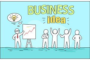 Business Idea Image on Vector Illustration Blue