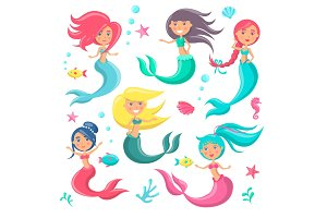 Beautiful Mermaids Icon Vector Illustration