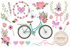 Garden Party Floral Bicycle & Extras