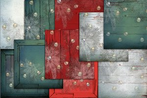 Christmas paper in red and green