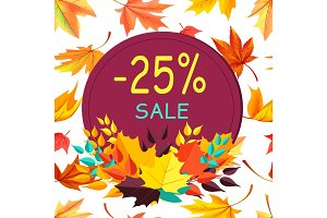 Sale Autumn 25 Special Offer Promo Poster Leaves