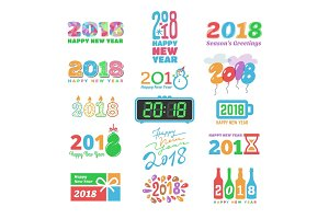 2018 New Year calendar Christmass text Holiday calendar print colored design newborn party illustration