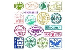 Premium quality eco vegan stamp logo product mark retro grunge badges collection best label vintage tag vector illustration.