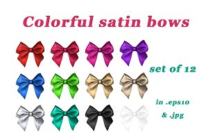 Colorful decorative satin bows