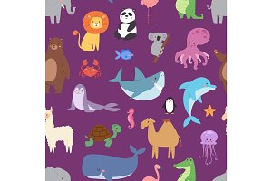 Cartoon animals wildlife wallpaper zoo wild characters background for kids illustration vector seamless pattern