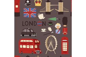 London travel icons english set city flag europe culture britain tourism england traditional vector seamless pattern background