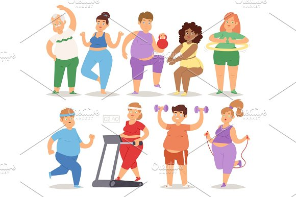 Fat people doing exercise training gym gymnasium sport fatty food rich character workout vector illustration.