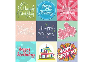 Beautiful birthday invitation card design colorful lettering poctcard vector greeting decoration.