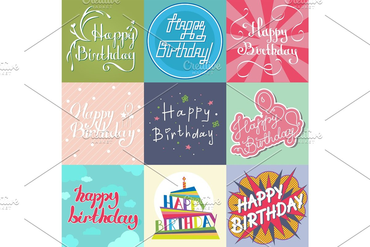 Beautiful Birthday Invitation Card Design Colorful Lettering Poctcard Vector Greeting Decoration