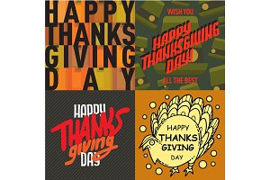 Vector thanksgiving decoration lettering postcard invitation cards design harvest november background illustration